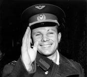 Soviet cosmonaut Yuri Gagarin, first human to travel into space