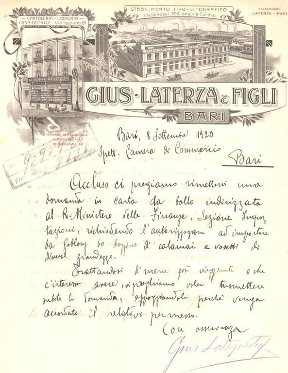 Gius. Laterza & Figli, lettera commerciale, Bari 1920 - san dl SAN IMG-00002946.jpg