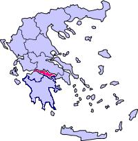 החלק המסומן באדום הוא מפרץ קורינתוס