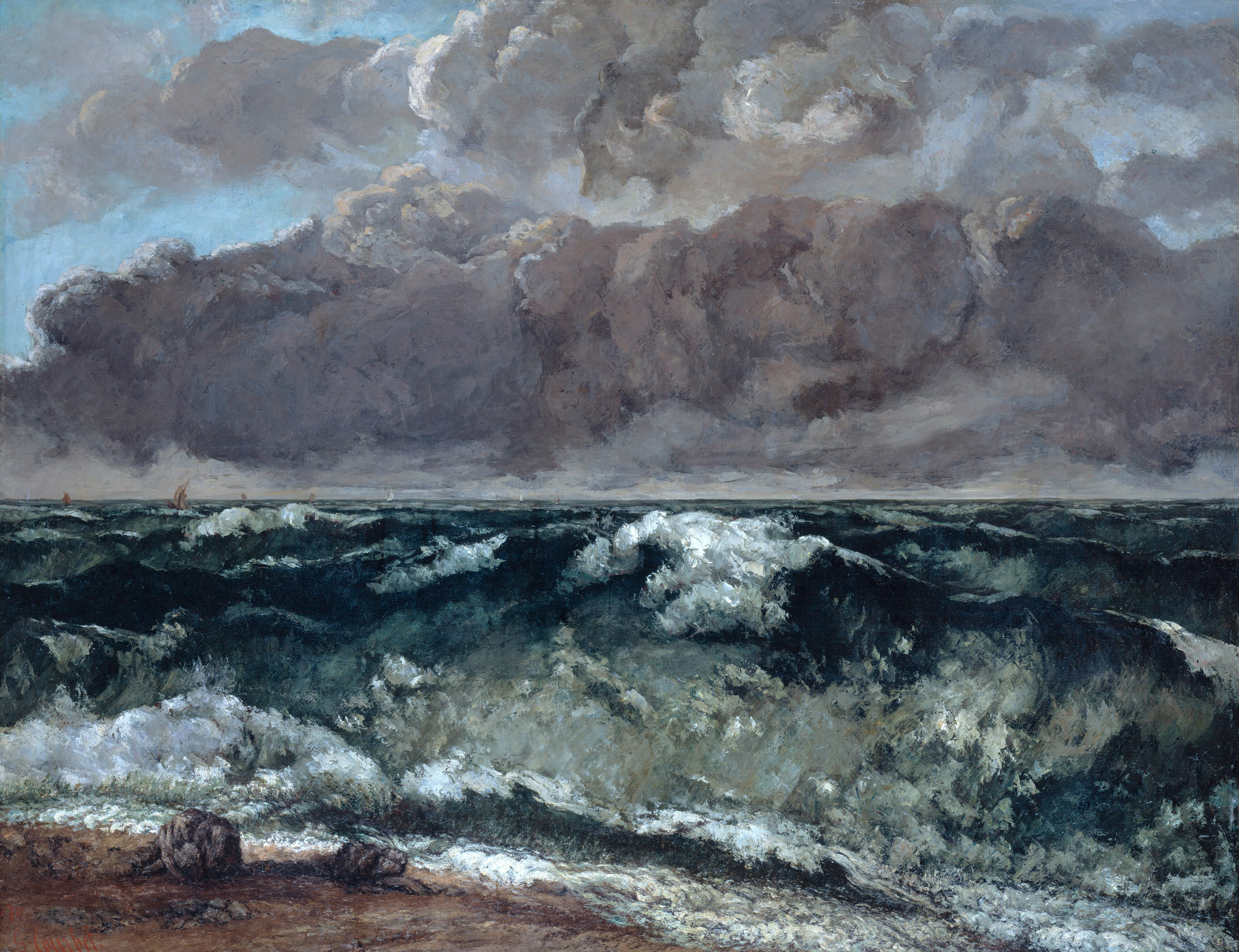 courbet the wave In 1923 frank rinder, the international felton adviser for the national gallery of  victoria, discovered a painting titled the wave (la vague) at an exhibition in.