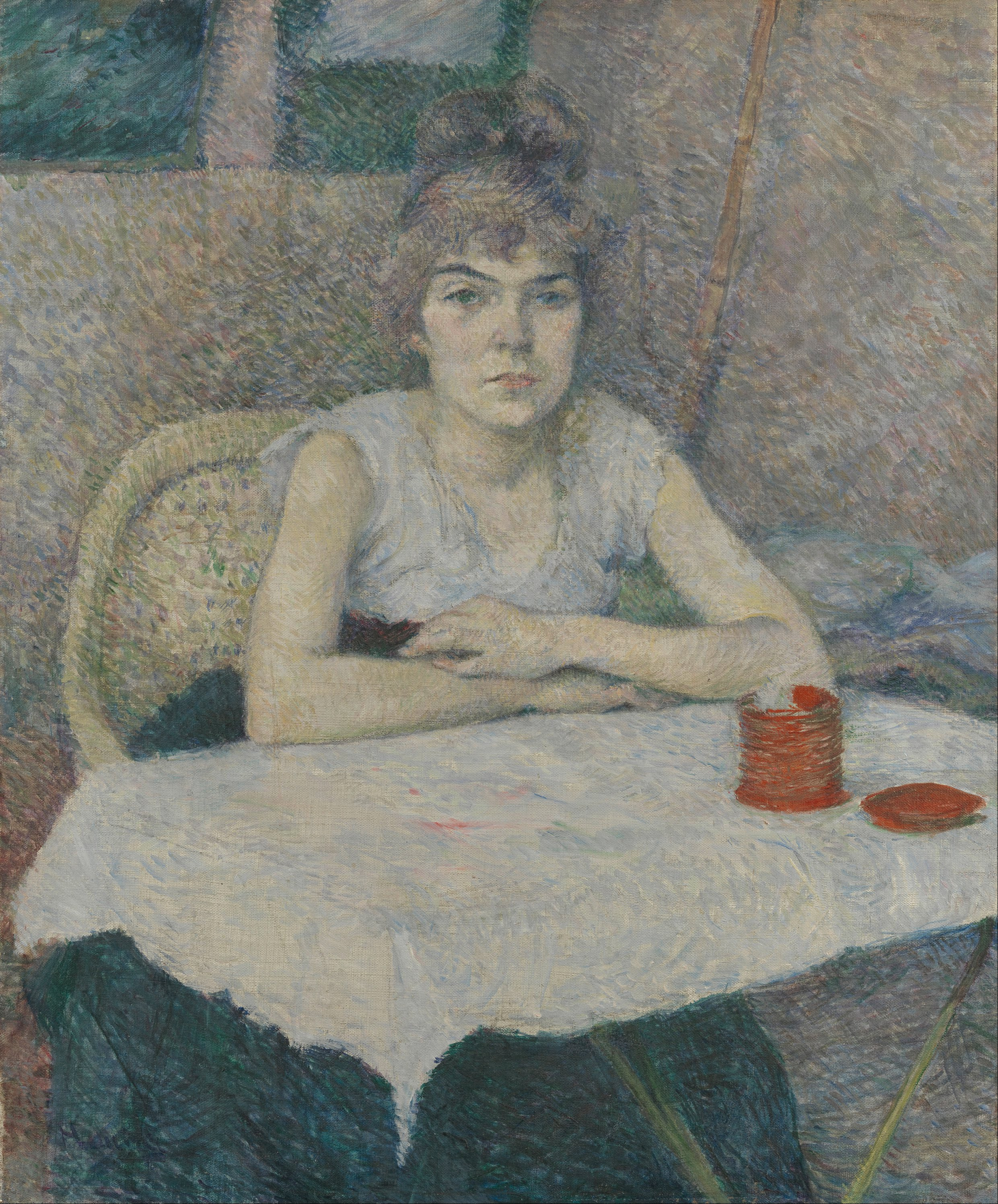 File henri de toulouse lautrec young woman at a table for Toulouse lautrec works