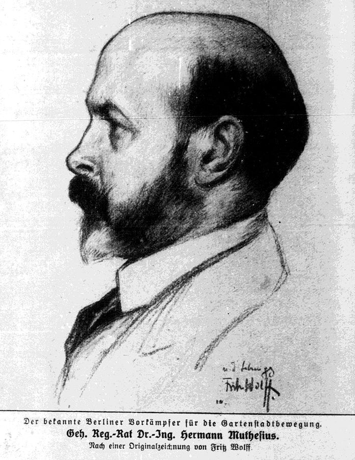 Hermann Muthesius as drawn by Fritz Wolff in 1911.
