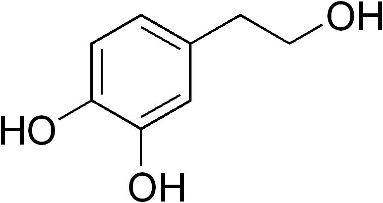 Strukturformel von 3-Hydroxytyrosol