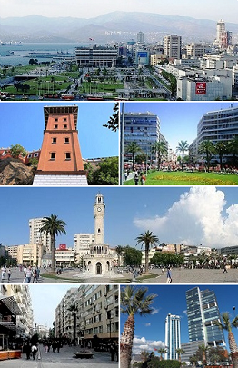 From top to bottom, left to right: 1. Konak in İzmir; 2. Historical Elevator in Karataş, İzmir; 3. Gündoğdu Square; 4. İzmir Clock Tower in Konak Square; 5. Alsancak; 6. Skyscrapers of Bayraklı.