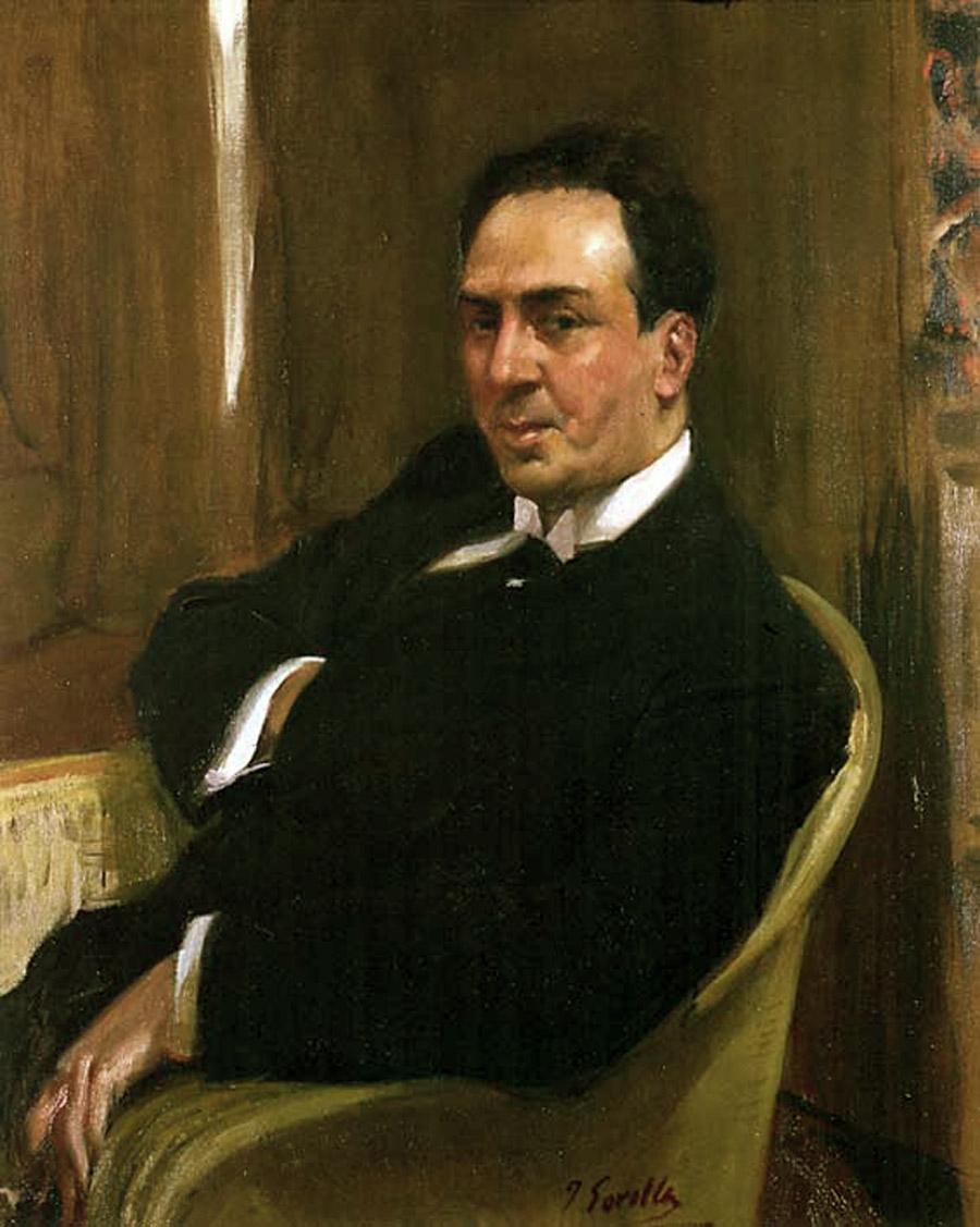 Joaquín Sorolla, Antonio Machado (diciembre de 1917). Óleo sobre lienzo. Hispanic Society of America (Nueva York). Sorolla se lo regaló a Machado «como un poema personal».