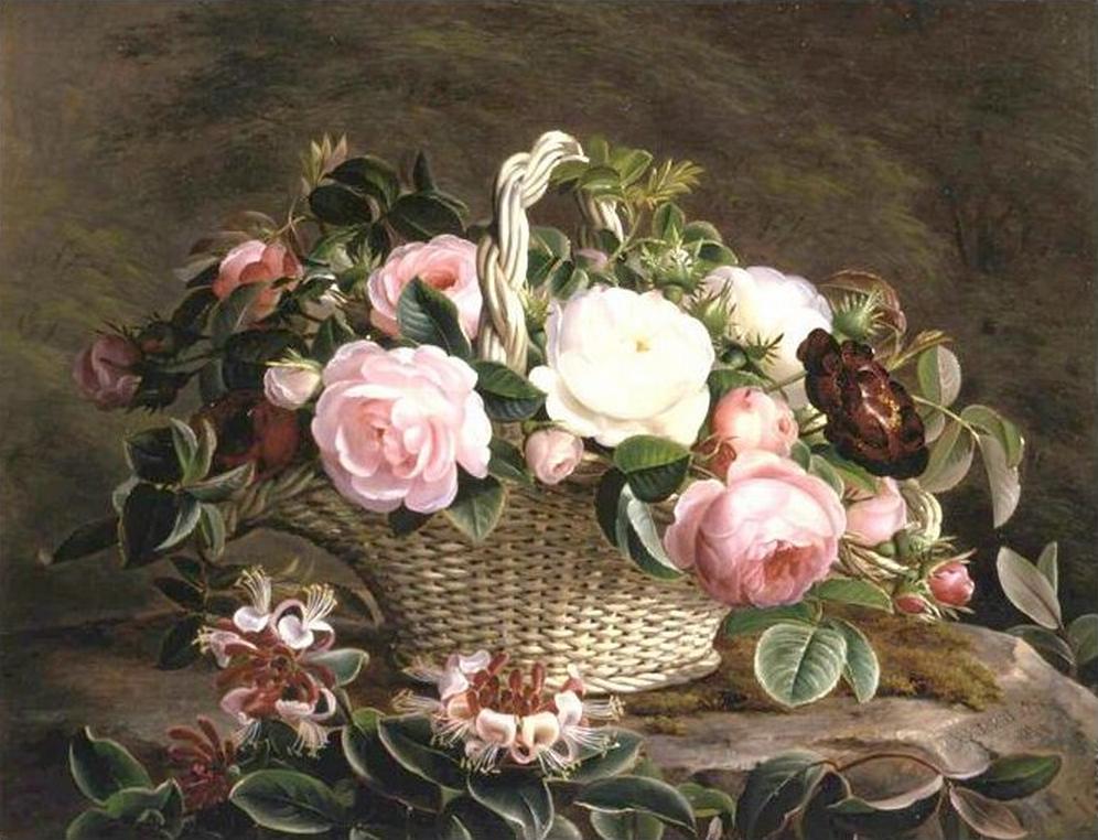 Johan Laurentz Jensen - En kurv med lyserøde, hvide og røde roser - 1842.png