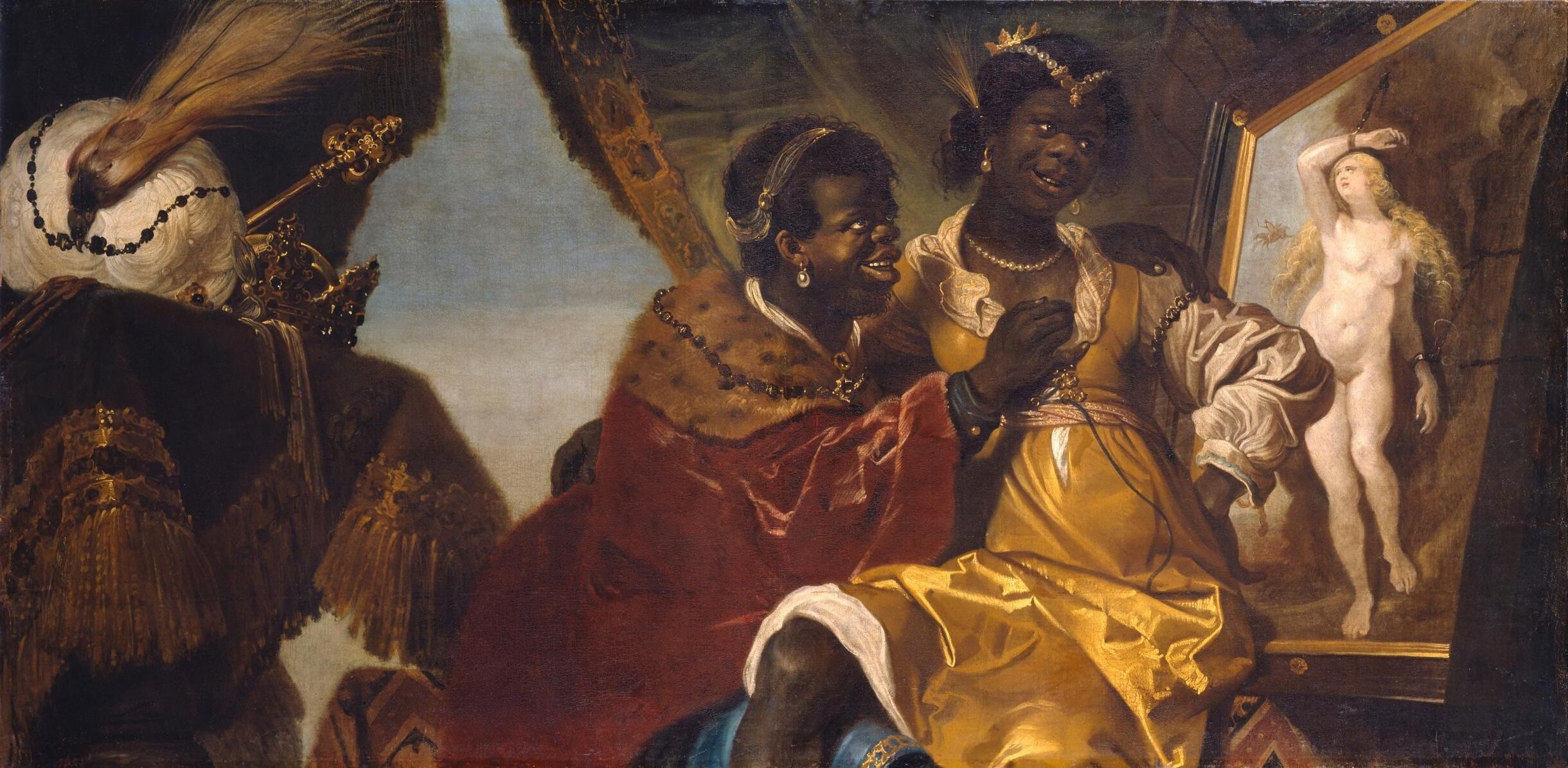 Persina zittend op Hydaspes schoot kijkend naar een schilderij van Andromeda geketend aan een rots - Karel van Mander III