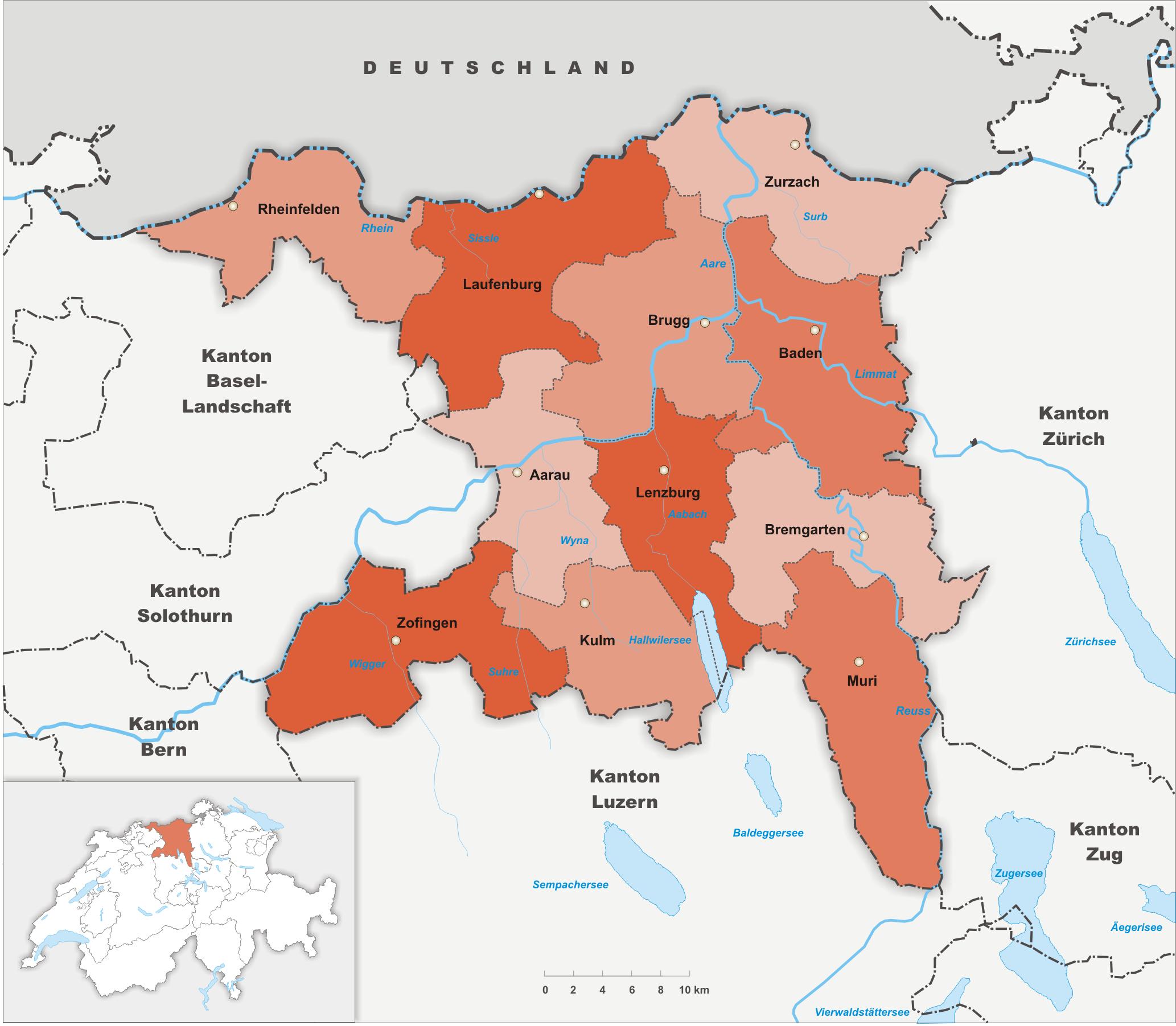 Bezirke des Kantons Aargau