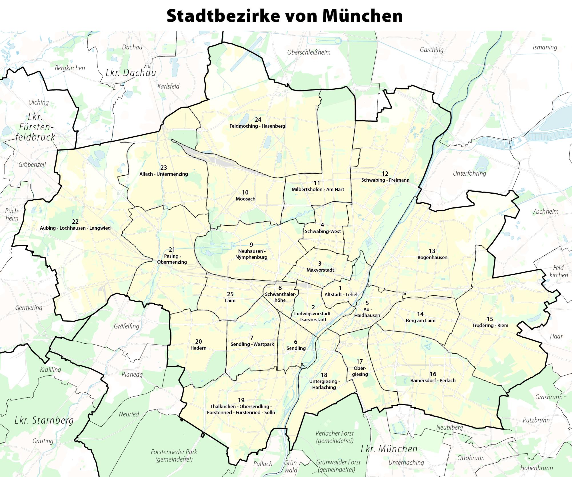 Stadtbezirke Munchens Wikipedia