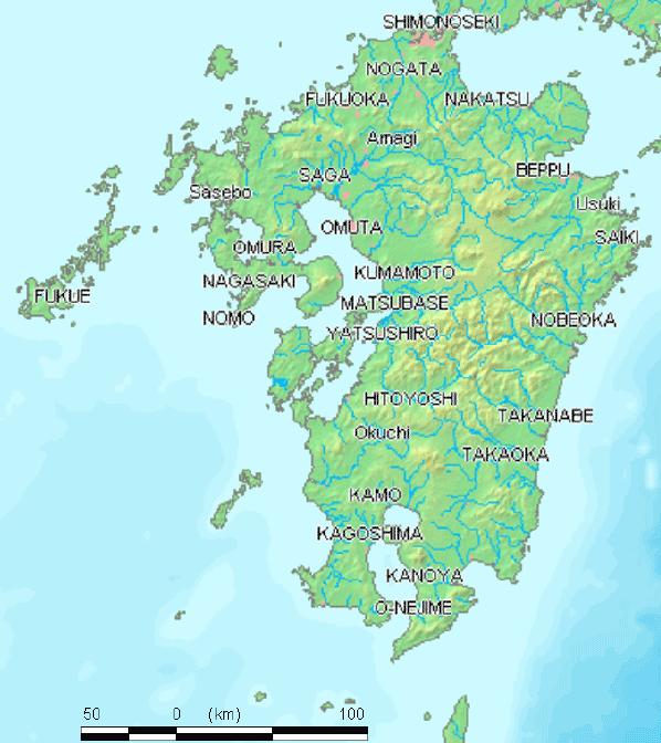Kyushu Map : 日本地図 地方 : 日本