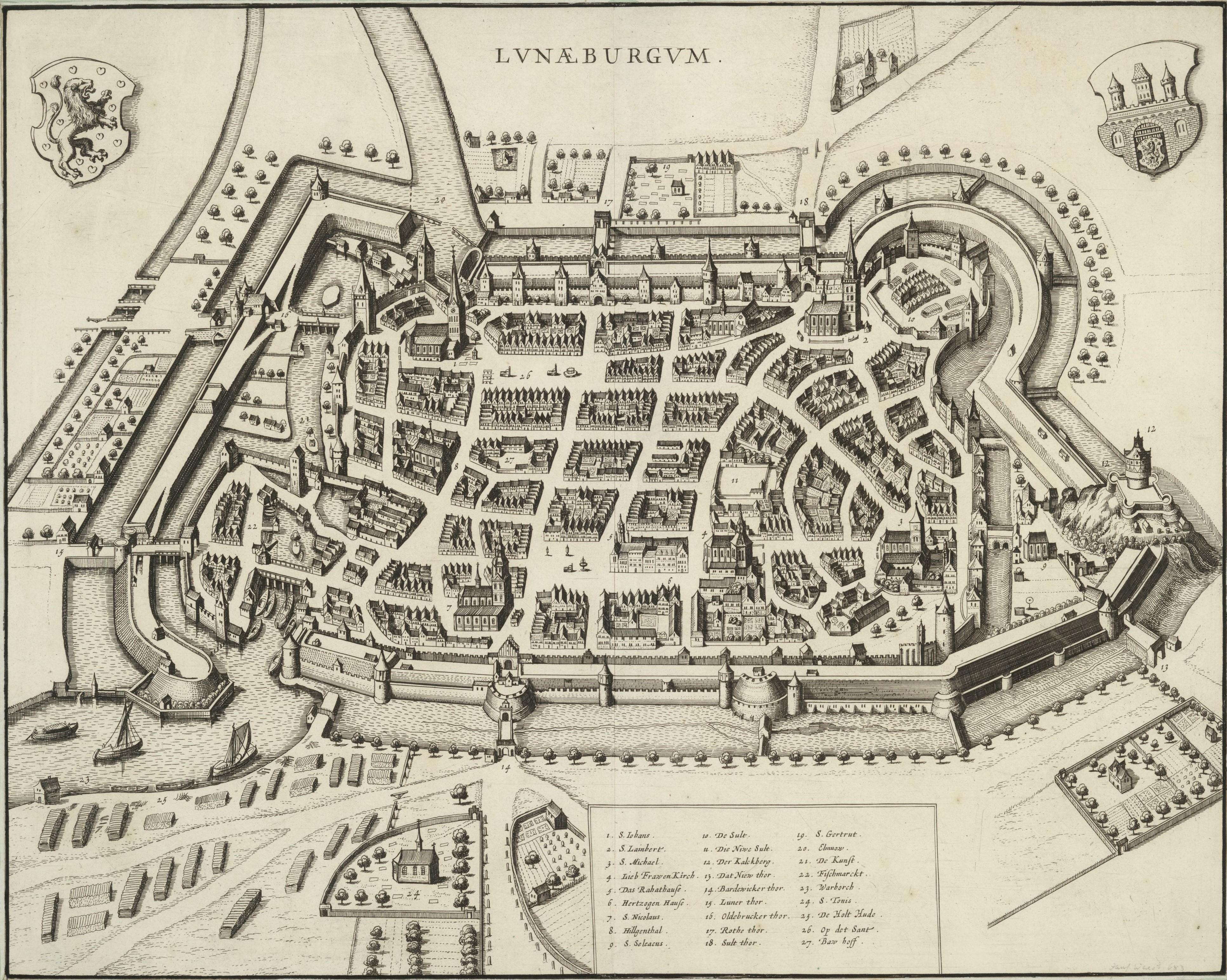 Lüneburg, unas dos décadas antes de la estancia de Bach en esa ciudad: foto de San Miguel en la parte inferior derecha.
