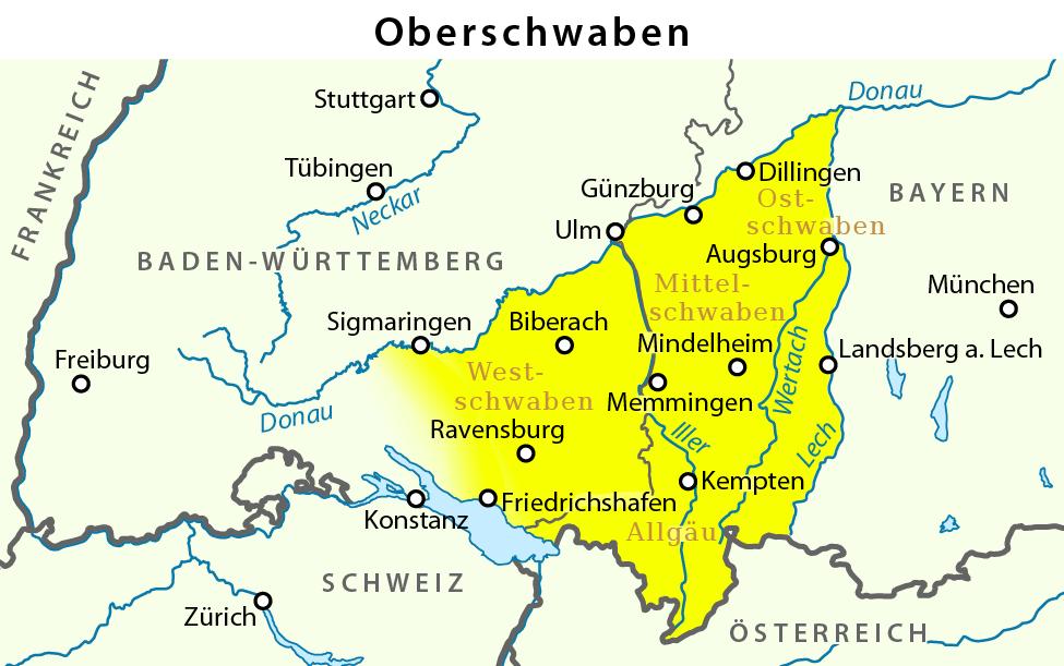 Schwäbische Alb Karte Städte.Oberschwaben Wikipedia
