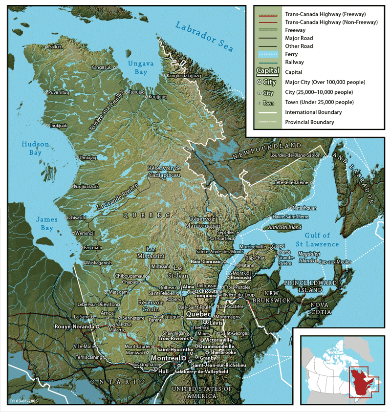 Geography Of Quebec Wikiwand - Canada map geography