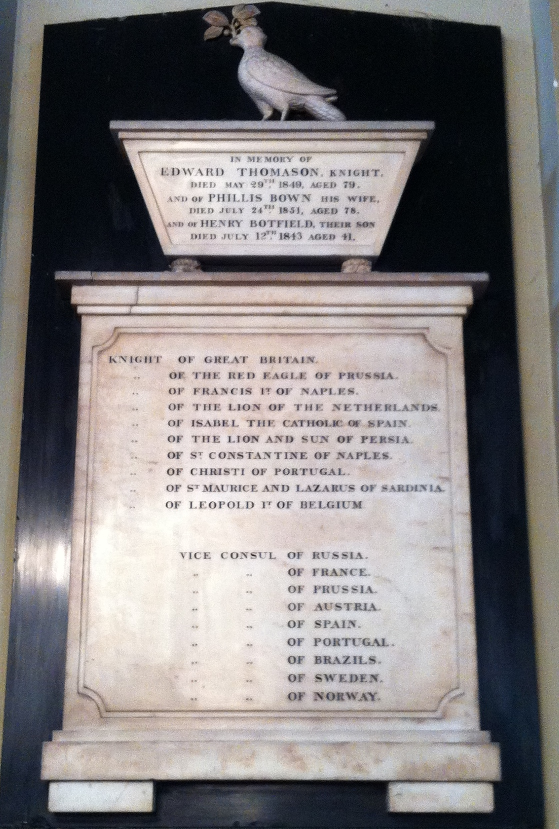 Memorial to Edward Thomason in [[St Philip's Cathedral, Birmingham