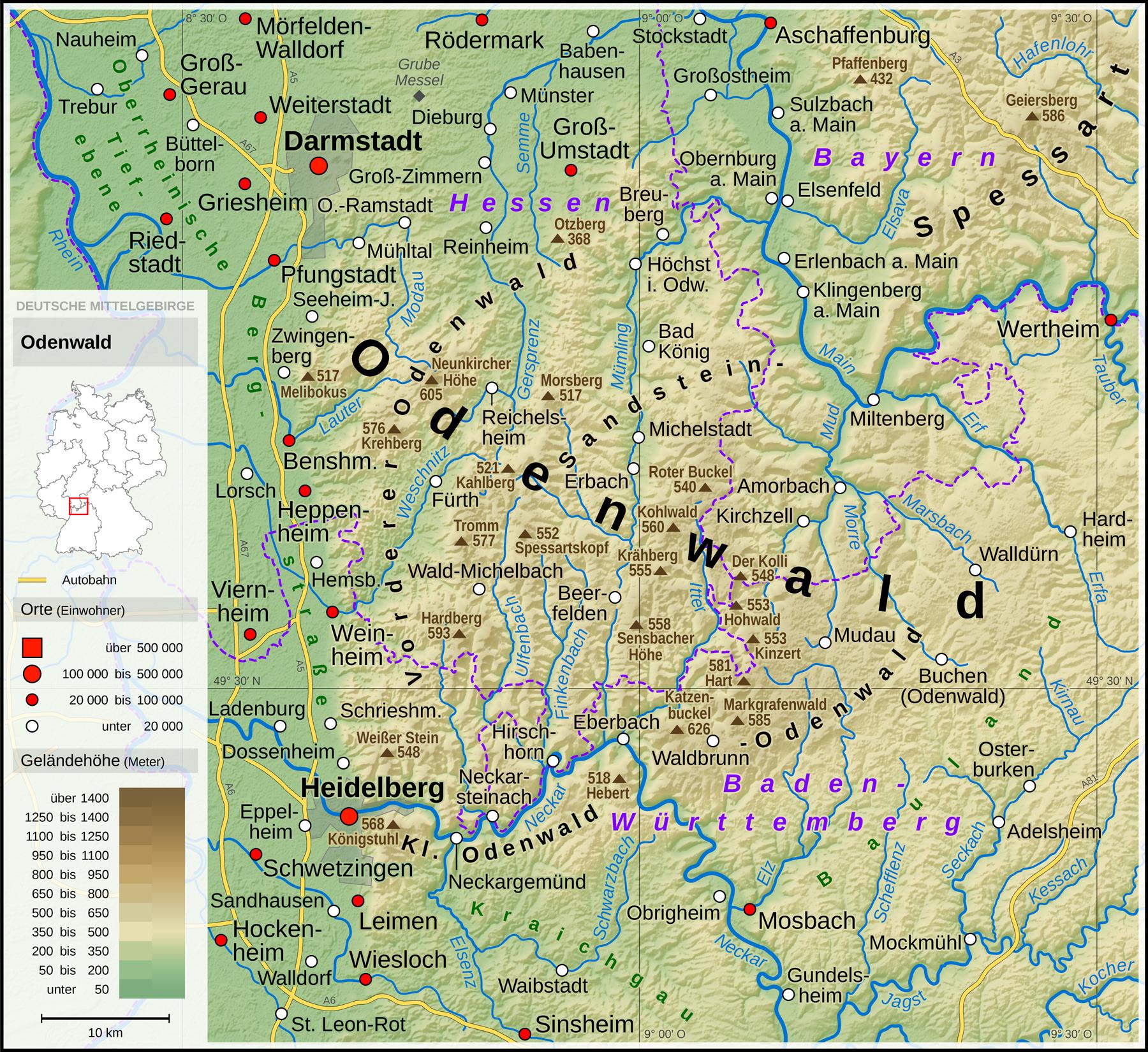 karte odenwald Datei:Odenwald   Deutsche Mittelgebirge, Serie A de.png – Wikipedia