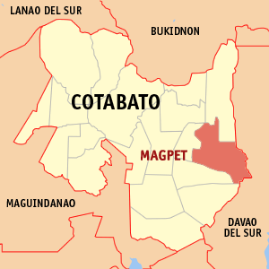 Map of Cotabato showing the location of Magpet