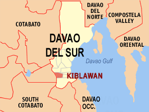 Map of Davao del Sur showing the location of Kiblawan