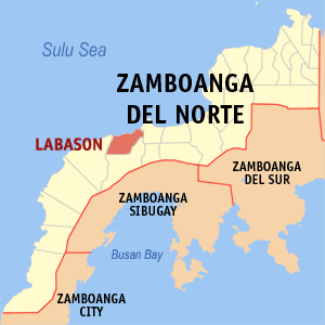 Map of Zamboanga del Norte showing the location of Labason