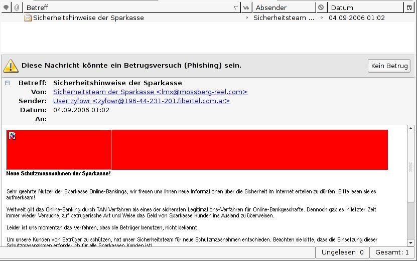 Mozilla Thunderbird Betrugsversuch