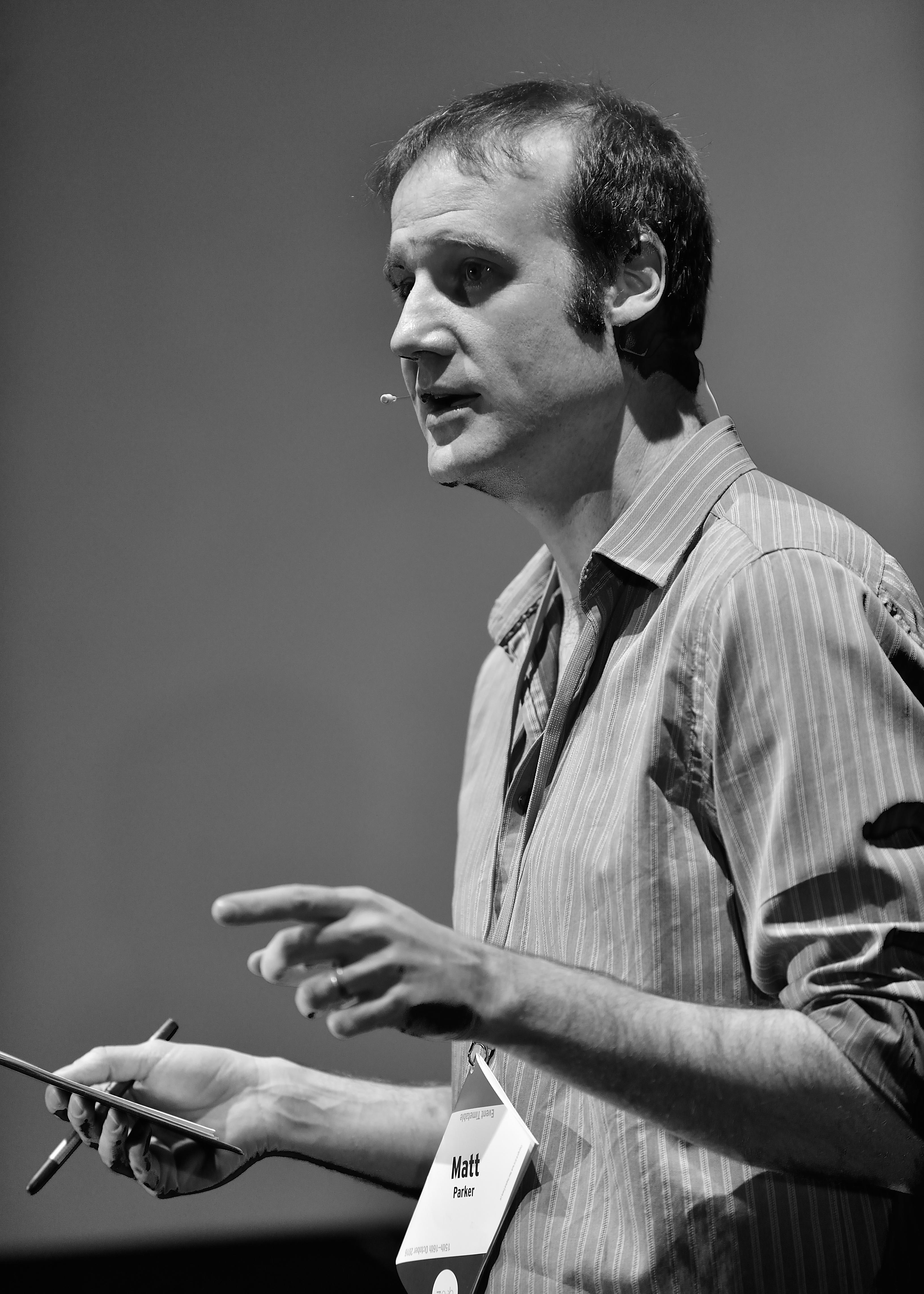 Matt Parker speaking at QED, 2016