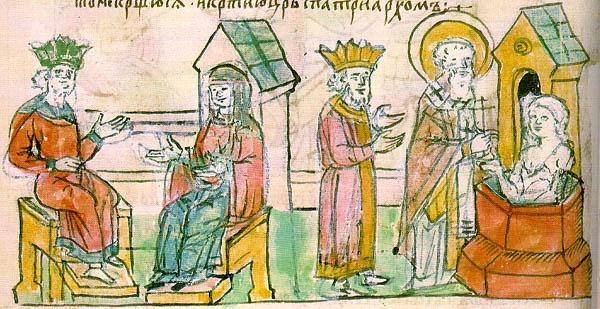 Крещение княгини Ольги в Царьграде. Миниатюра из Радзивилловской летописи, 15 век