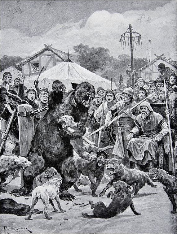 Медвежья травля во времена саксов. Рисунок Ричарда Кейтон Вудвилла.