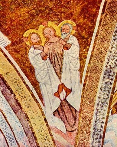Santísima Trinidad. Padre, Hijo y Espíritu Santo representado en forma Femenina.Fresco s.X. Iglesia de San Jakobus en Urschalling, Alta Baviera Alemania.