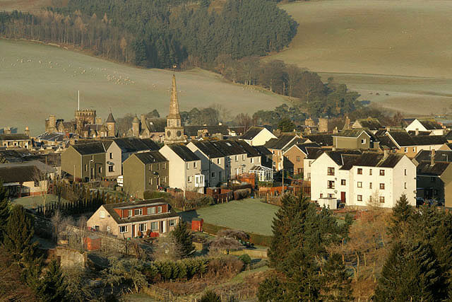Selkirk town centre Viewed in late December from the hillside to the east of Haining Loch.