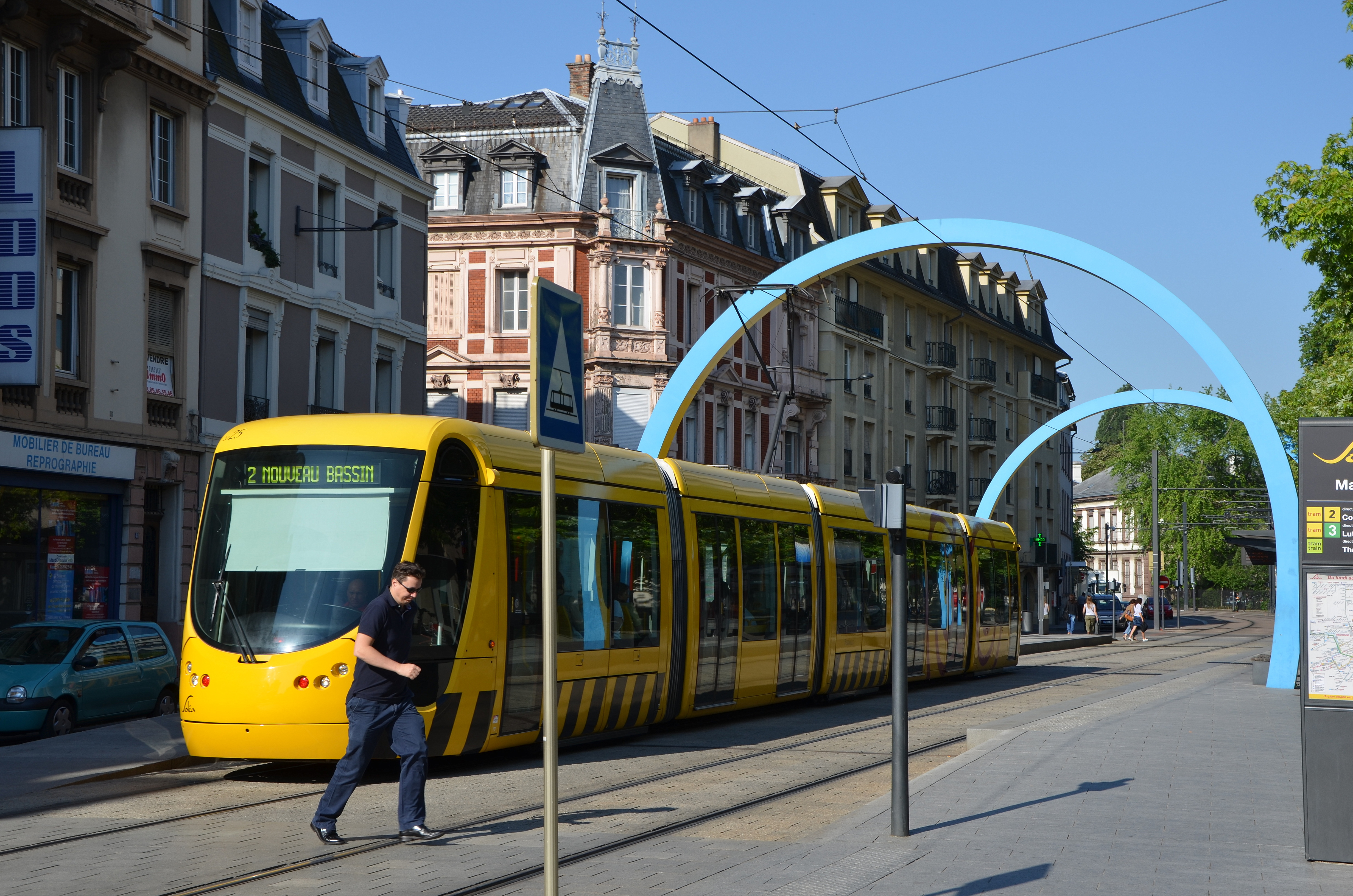 Mulhouse france jun tramway old town mulhouse france u stock