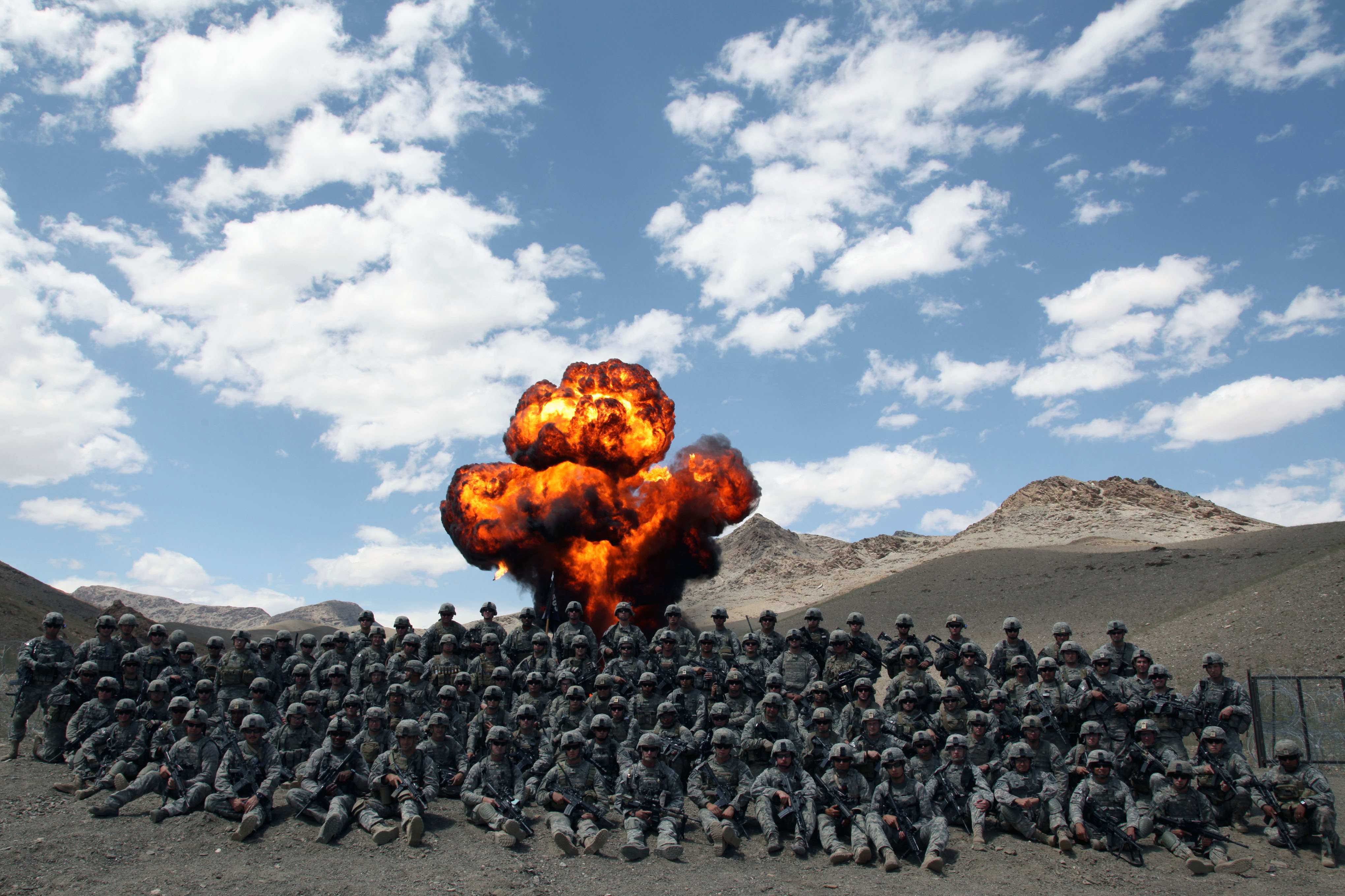 file us army in afghanistan   explosion in the background