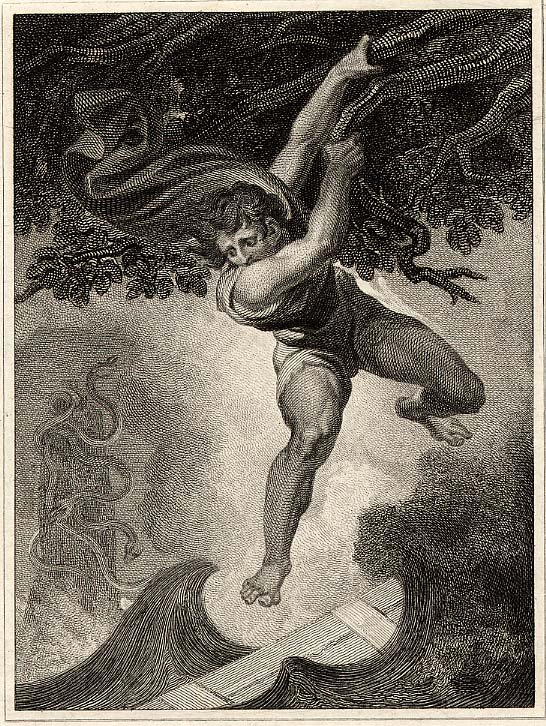 """William Bromley print after Henry Fuseli in Pope's translation of  """"Odyssey"""", entitled """"Odysseus between Scylla and Charybdis"""", 1806"""