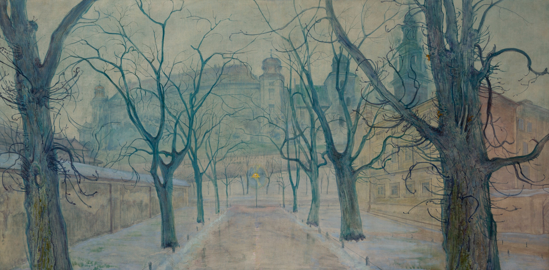 Le parc des Planty en hiver d'après Wyspianski. Dans le fond le chateau de Wawel.