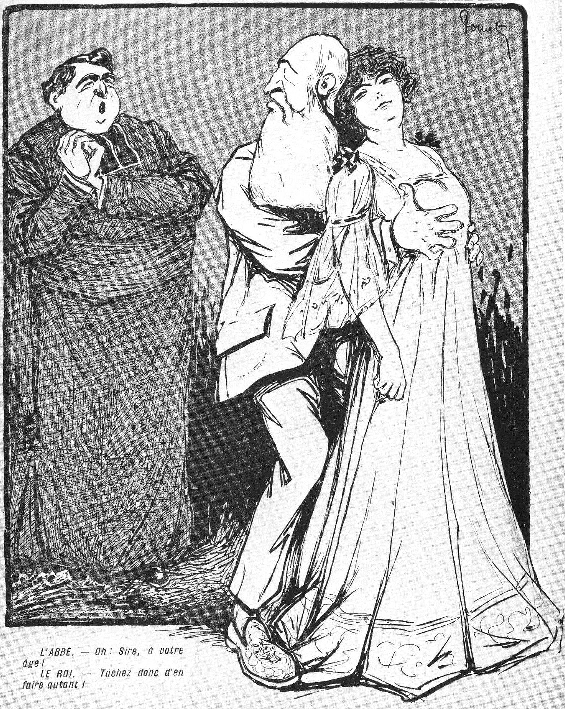 A political cartoon pillorying Leopold's love affair with Caroline Lacroix. The Abbot: Oh! Sire, at your age? The King: You should try it for yourself!