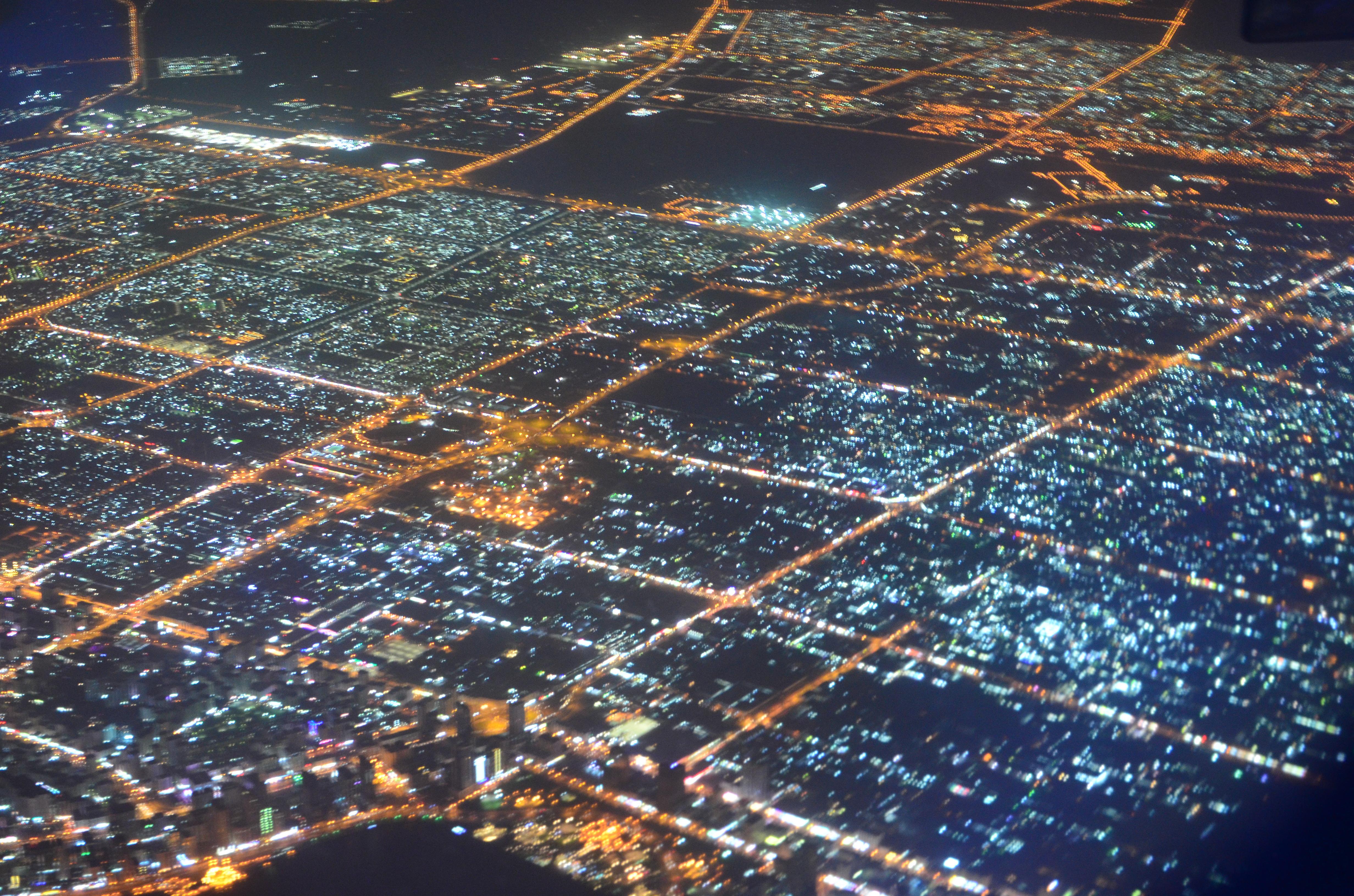 дубай ночью с самолета