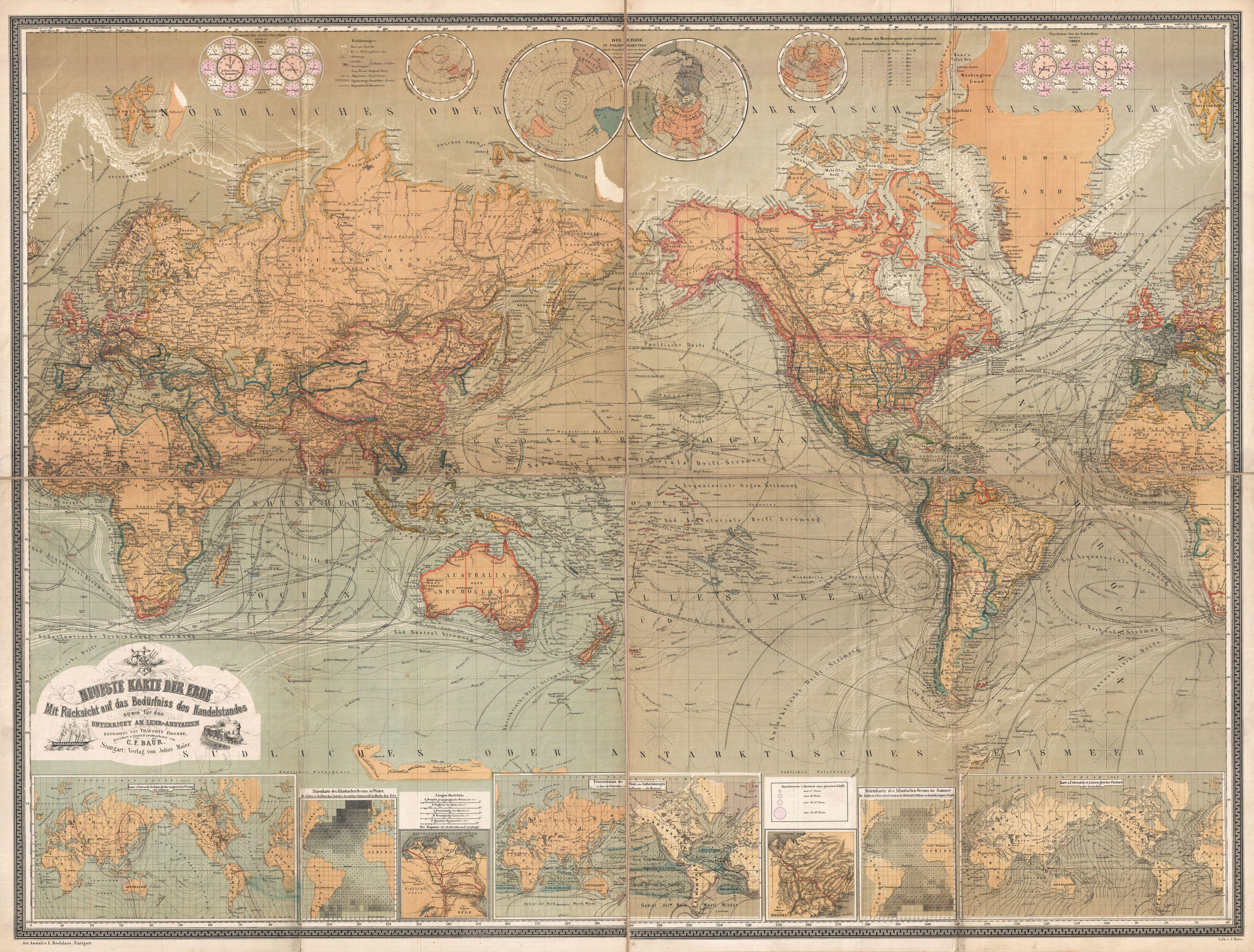 File:1870 Baur and Bromme Map of the World on Mercator Projection ...