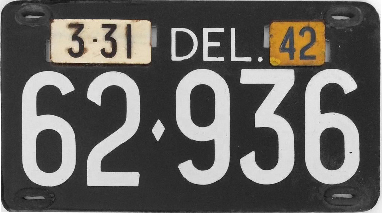 File:1942 Delaware license plate.jpg - Wikimedia Commons