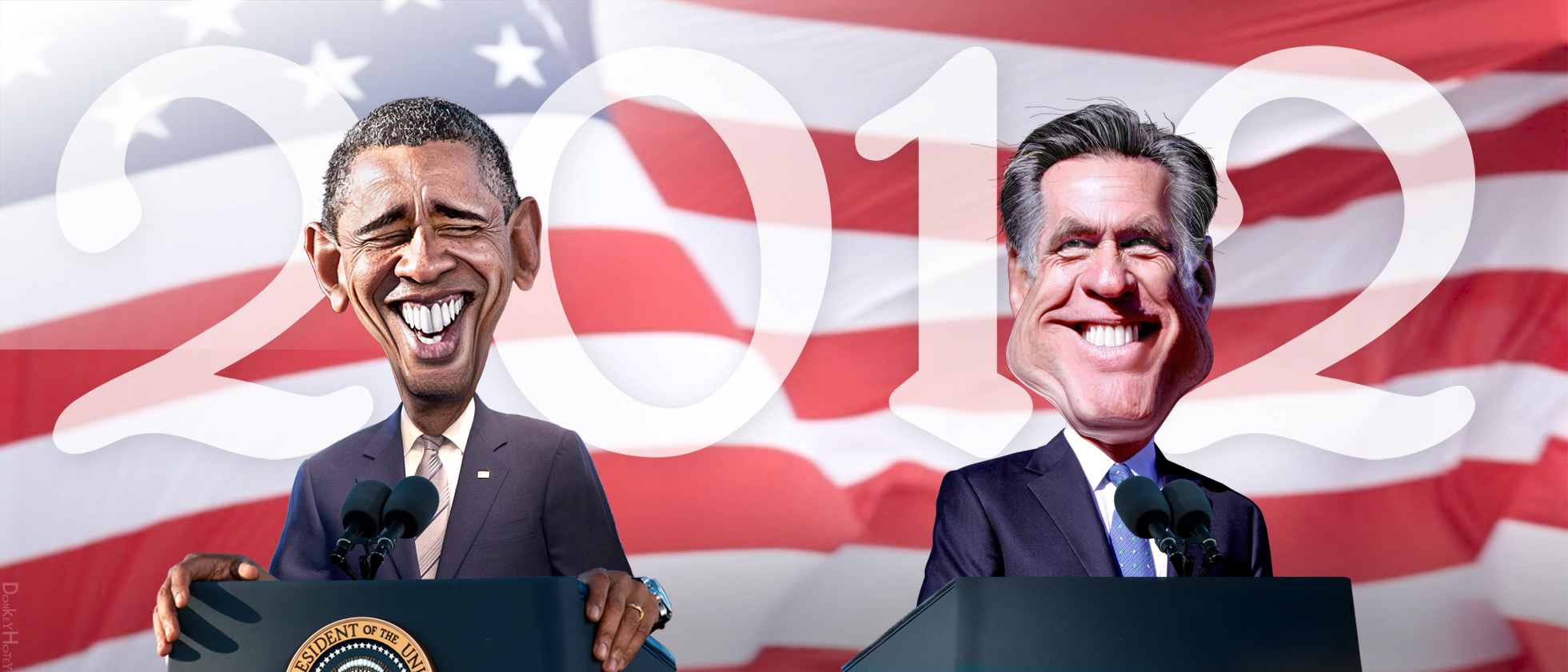 Obama and Romney caricature