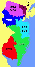 Area code map of NJ. 856 is in Red