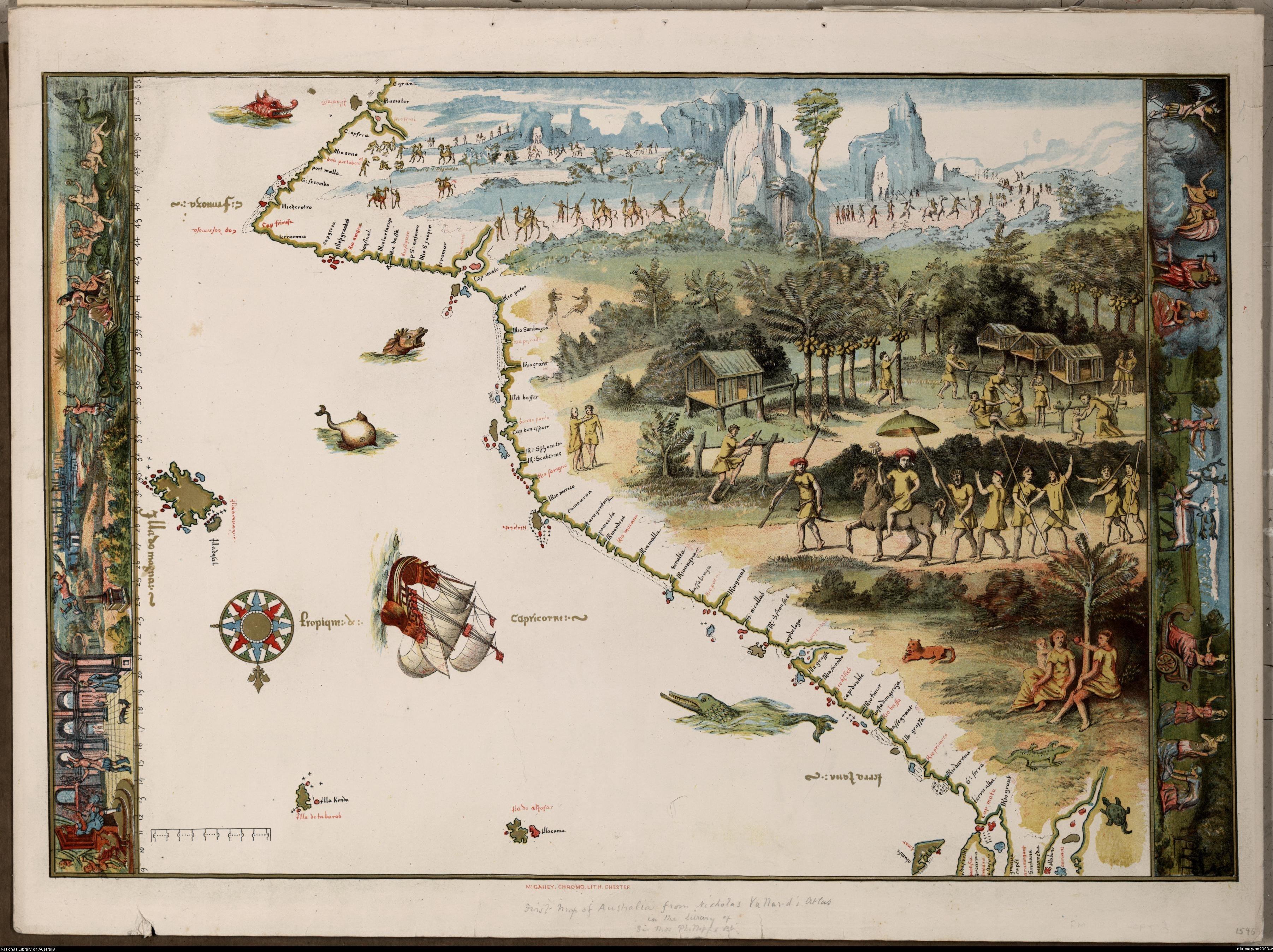 Die eerste kaart van Australië, soos gepubliseer in Nicholas Vallard se see-atlas van 1547