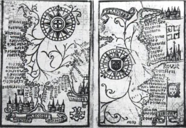 Brouscon Almanach 1546 Compass bearing of high waters in the Bay of Biscay left Brittany to Dover right.jpg