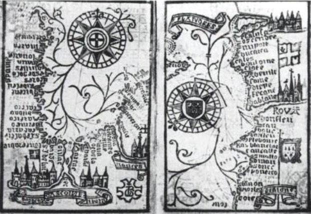 Fichier: Almanach Brouscon 1546 portant Boussole des hautes eaux dans le golfe de Gascogne quitté la Bretagne à Douvres right.jpg