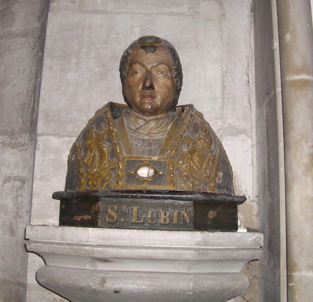 Byste av Leobin i kirken Notre-Dame i Louviers i departementet Eure i Normandie