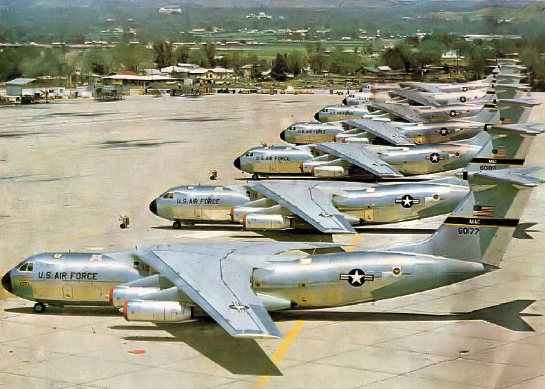 Brand new 63d MAW C-141As on the ramp at Norton AFB, 1967. Serial 66-0177 is in foreground. This aircraft will become the famous