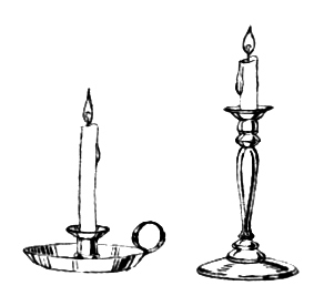 line art drawing of candlestick.