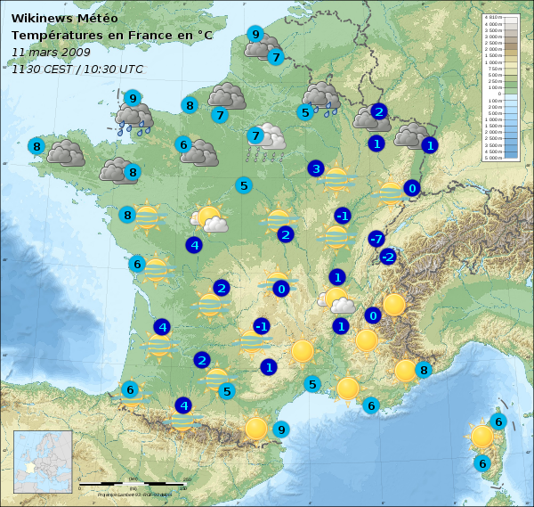 File carte m t o france 12 mars 2009 wikimedia commons - Meteo a la carte france 3 ...