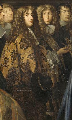 Portrait probable de Huygens, détail de l'Établissement de l'Académie des Sciences et fondation de l'observatoire, 1666