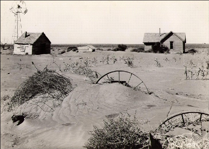 Homestead and farm in Texas County, Oklahoma, USA, during Dust Bowl.