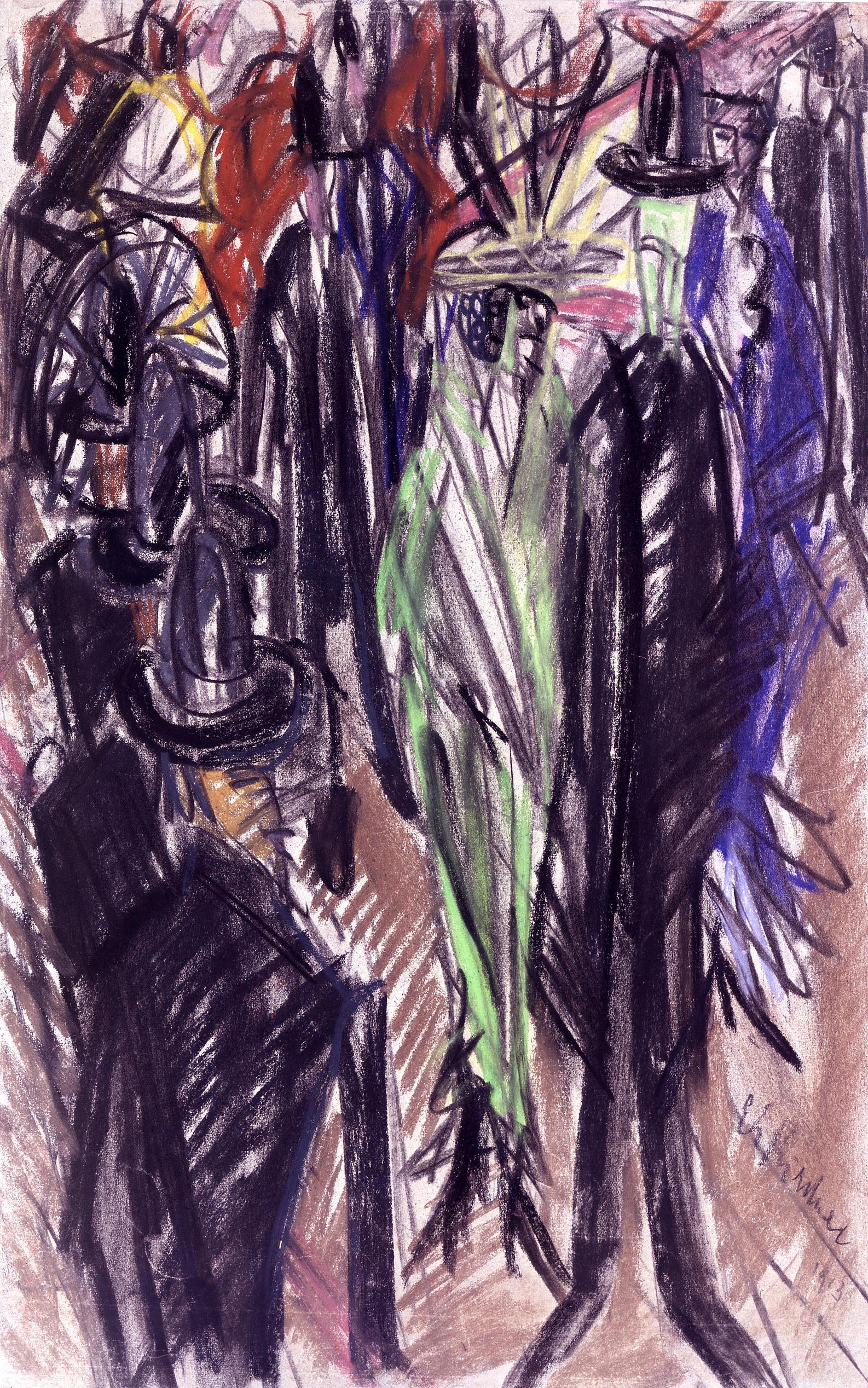 File:Ernst Ludwig Kirchner Straßenszene mit grüner Dame 1914.jpg ...