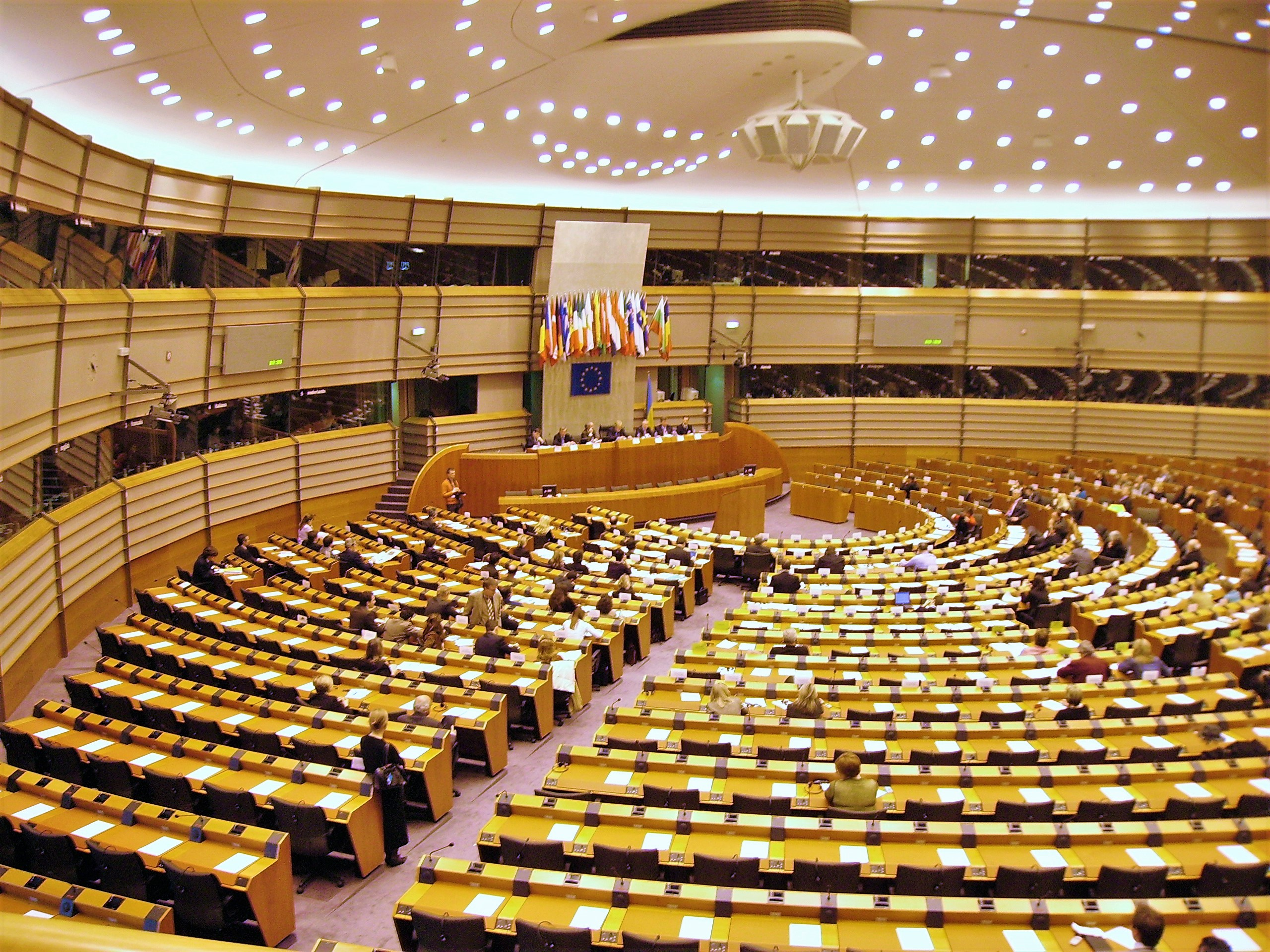 Plenarsaal des Europäischen Parlaments in Brüssel. Deutschland ist einer von 28 Mitgliedsstaaten der Europäischen Union.