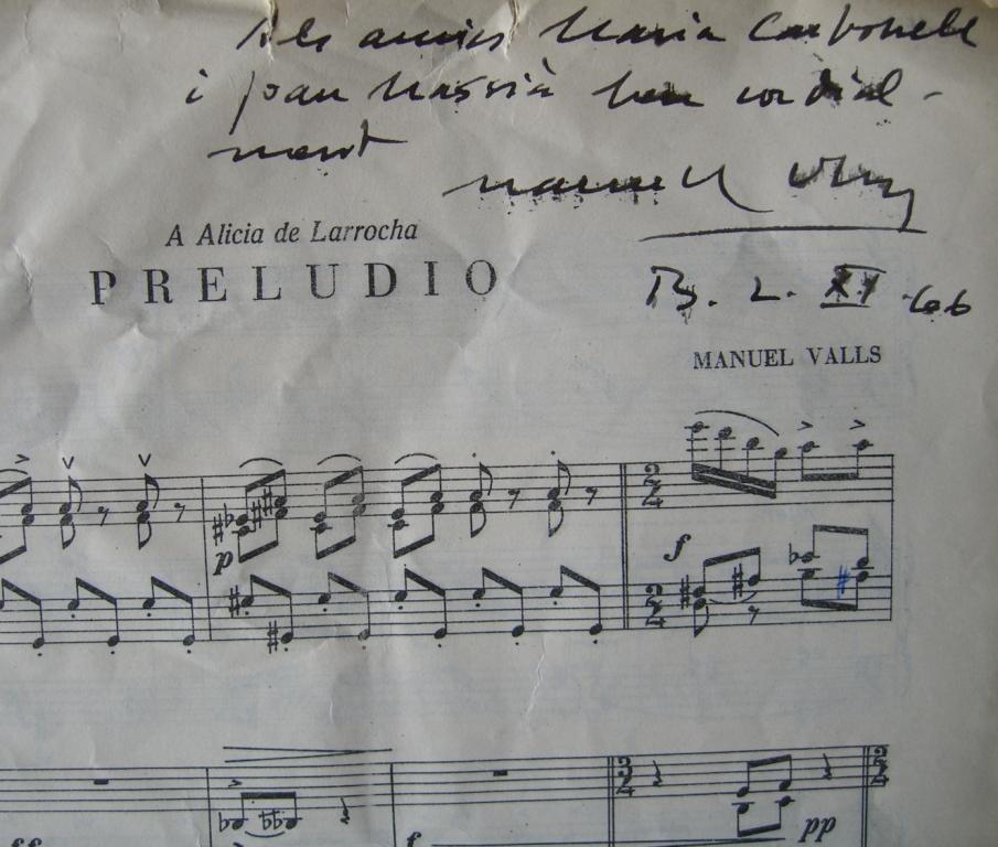 Firma de  Manuel Valls i Gorina en su Preludio para piano.